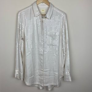 Maeve Anthropologie White Sequin Button Tunic